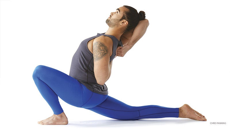 """From Upward-Facing Dog, tuck your toes and send your hips up and back on an exhalation. Lengthen your tailbone away from the back of your pelvis, lifting your sit bones toward the ceiling. Straighten your knees but be sure not to lock them, and press your chest toward your thighs. Stay here for at least 5 deep, Ujjayi breaths, silently repeating your meditation mantra: """"I am strong. I am powerful. I am a warrior.""""See alsoHow Army Vet Dan Nevins Spreads Hope Through Yoga"""