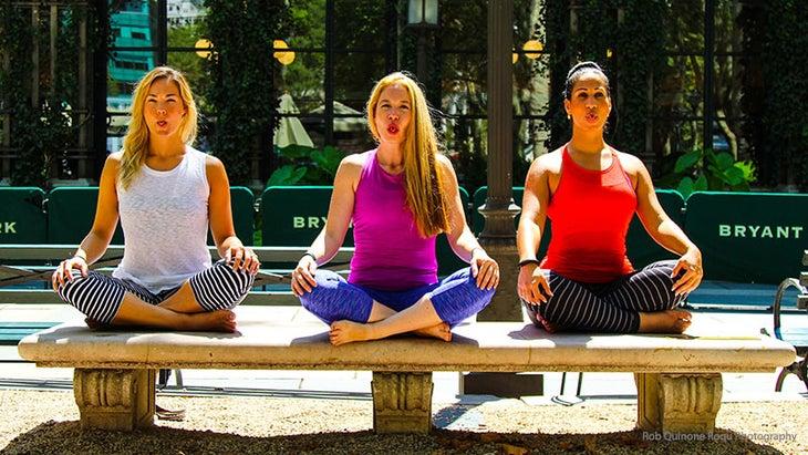 Kristen Kemp teaches Sheetali breath at Bryant Park Yoga.