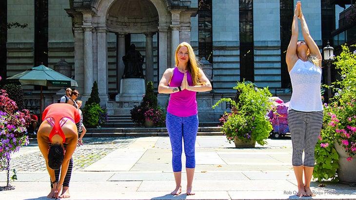 Kristen Kemp teaches Sun breaths at Bryant Park Yoga.