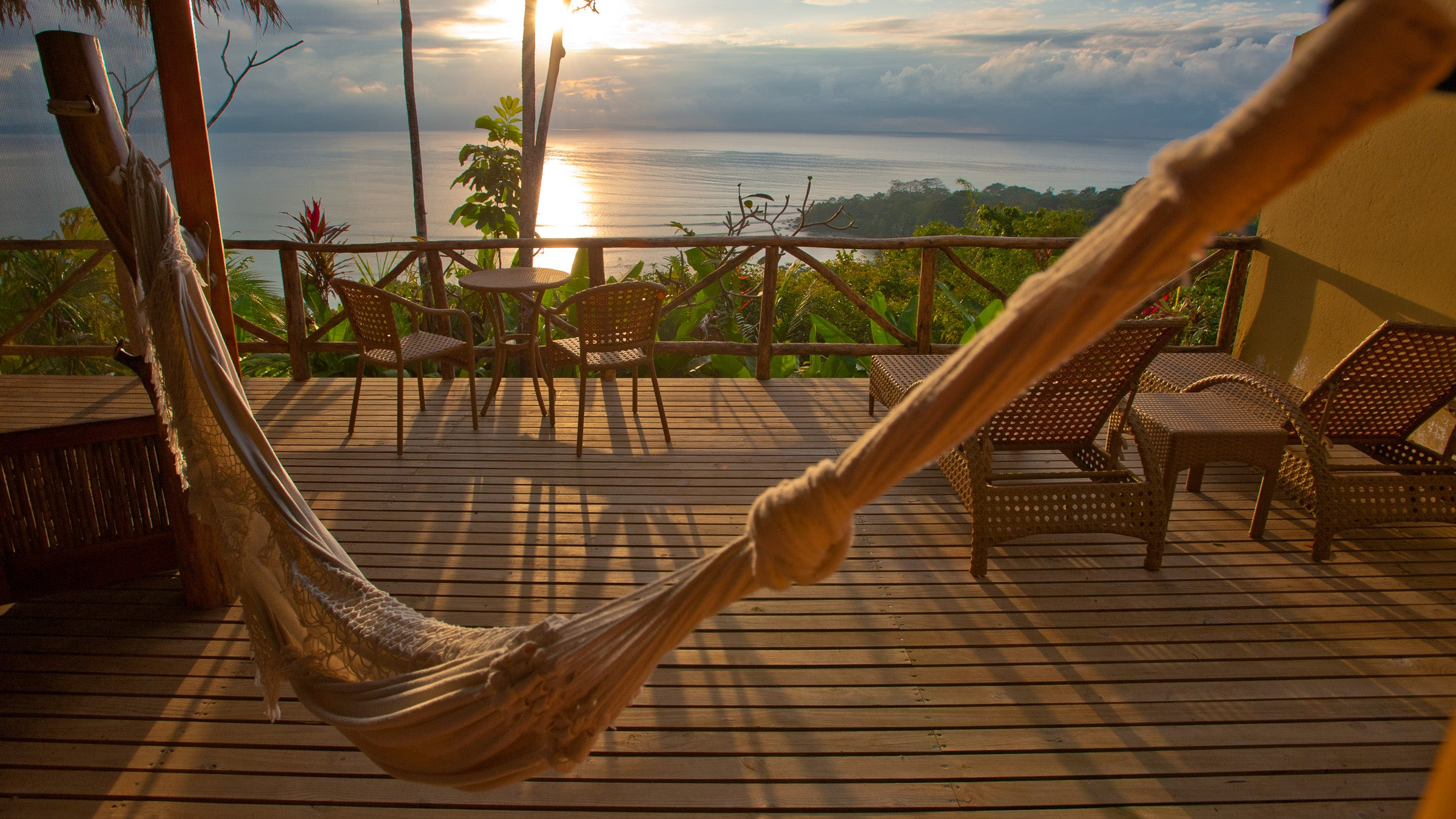 View of the ocean from a hammock