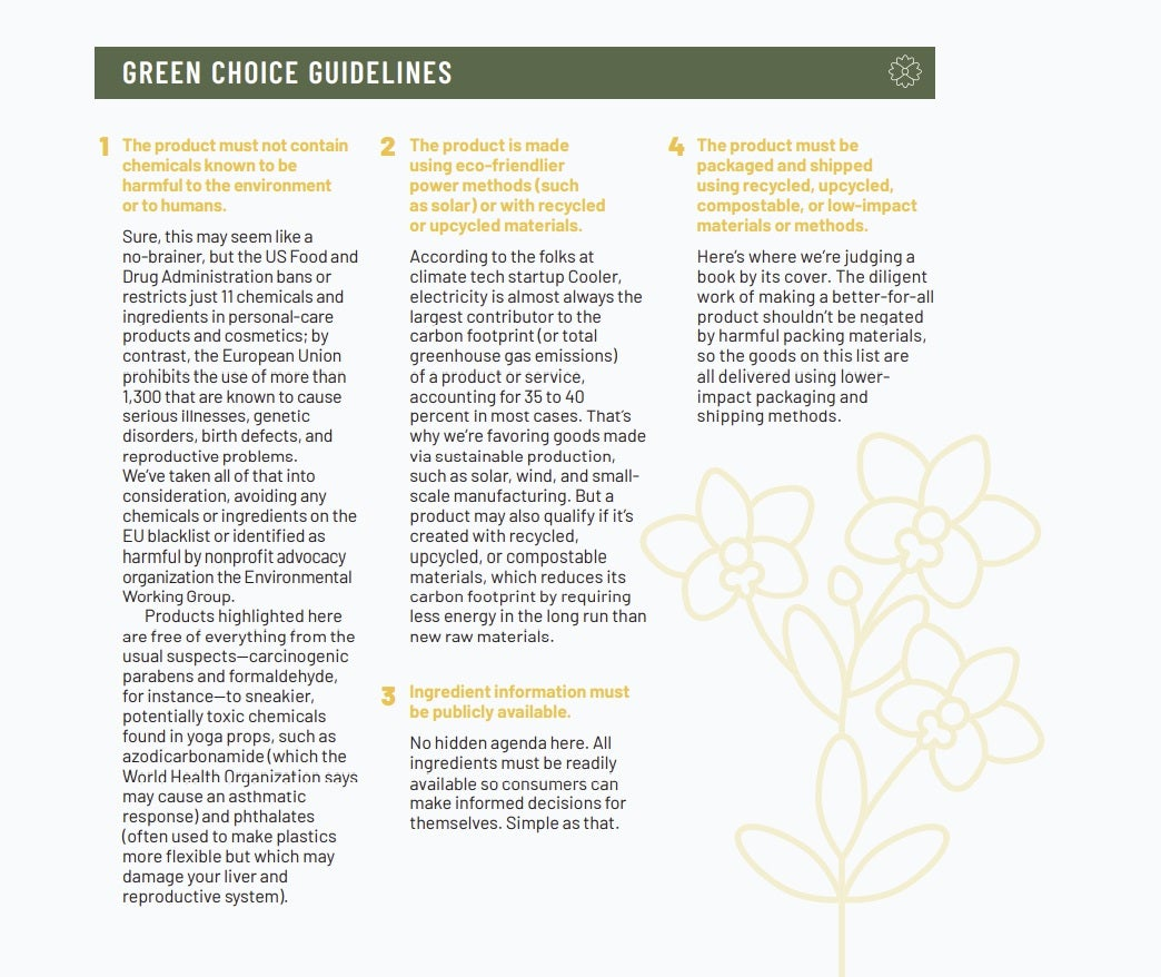 Selection guidelines for the Green Choice Award products