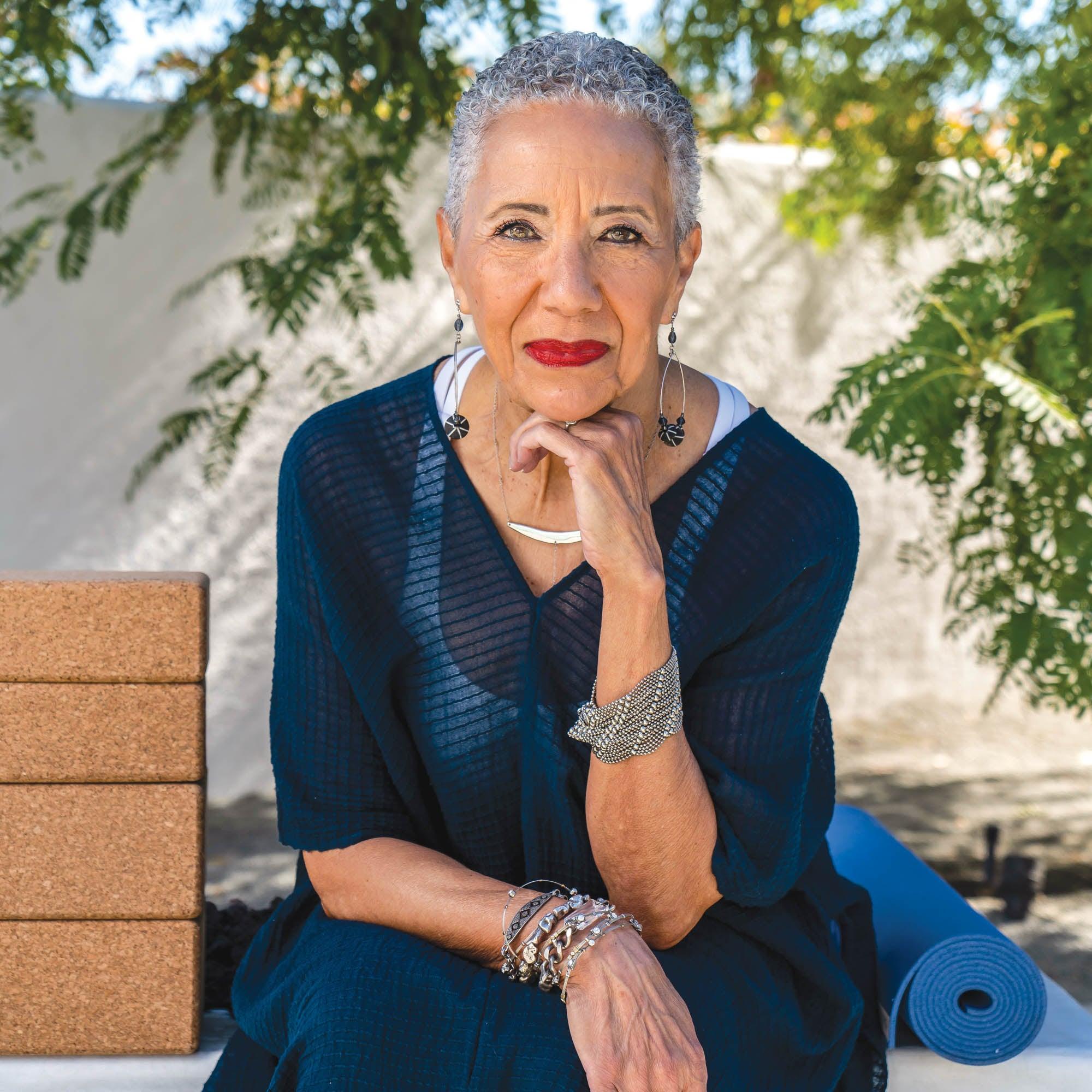 Gail Parker sitting outside