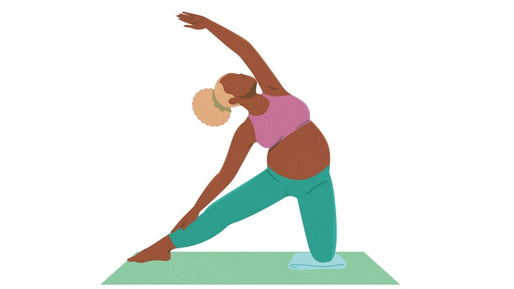 An illustration of a pregnant woman moving through Gate Pose in yoga