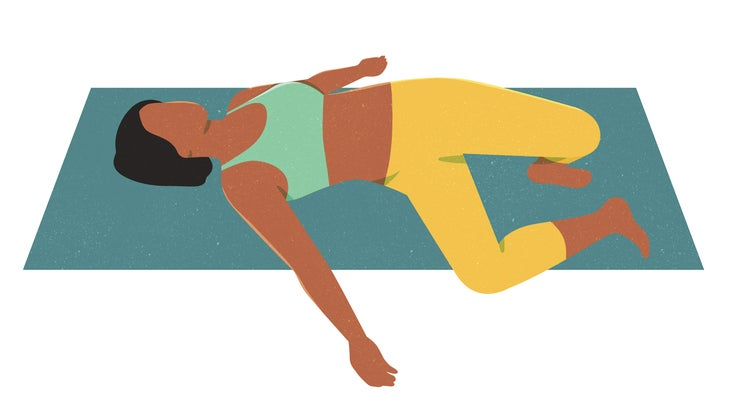 An illustration of a woman lying on the floor with her legs dropped to the right of her body