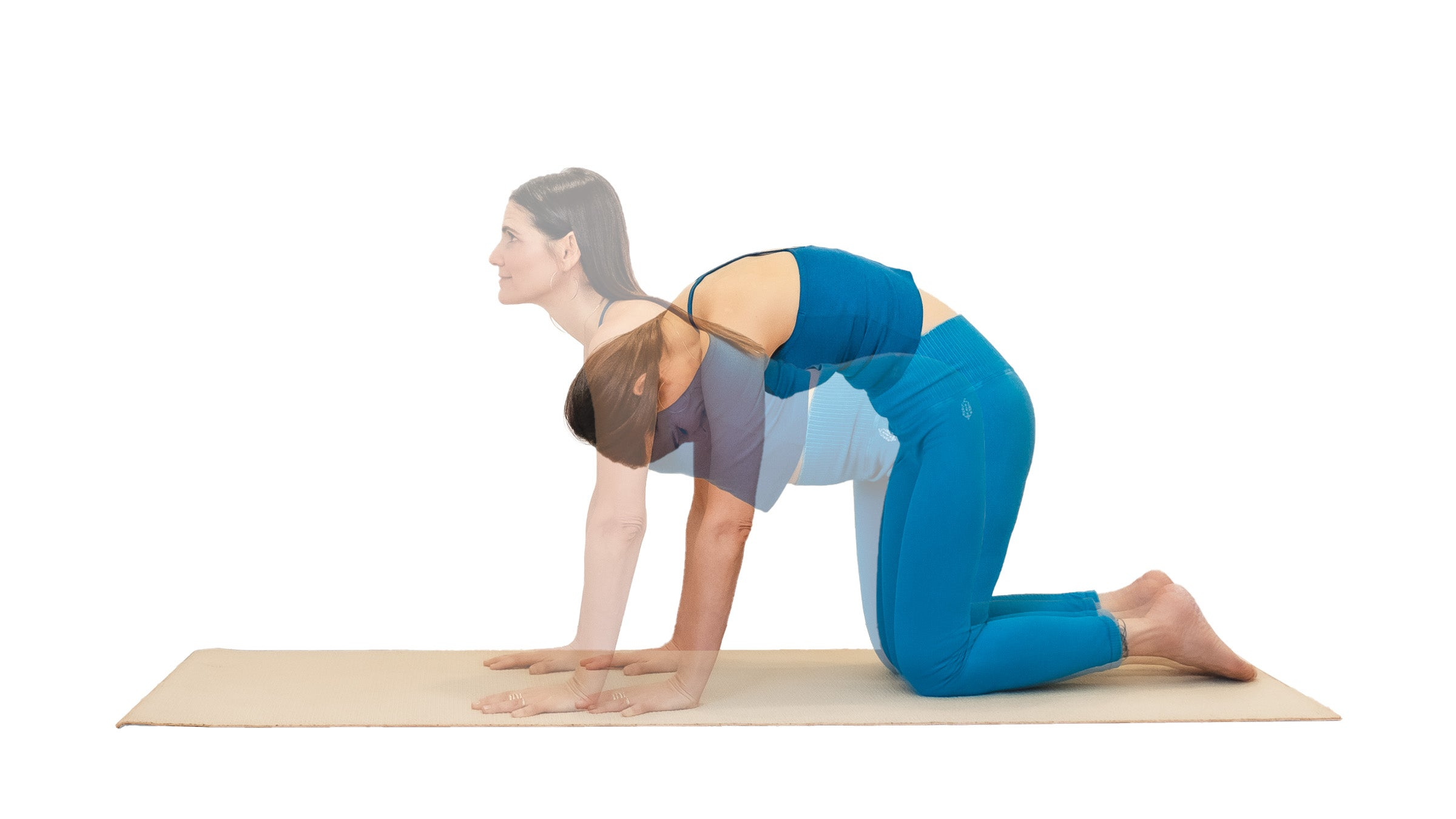 Woman demonstrating cat-cow pose